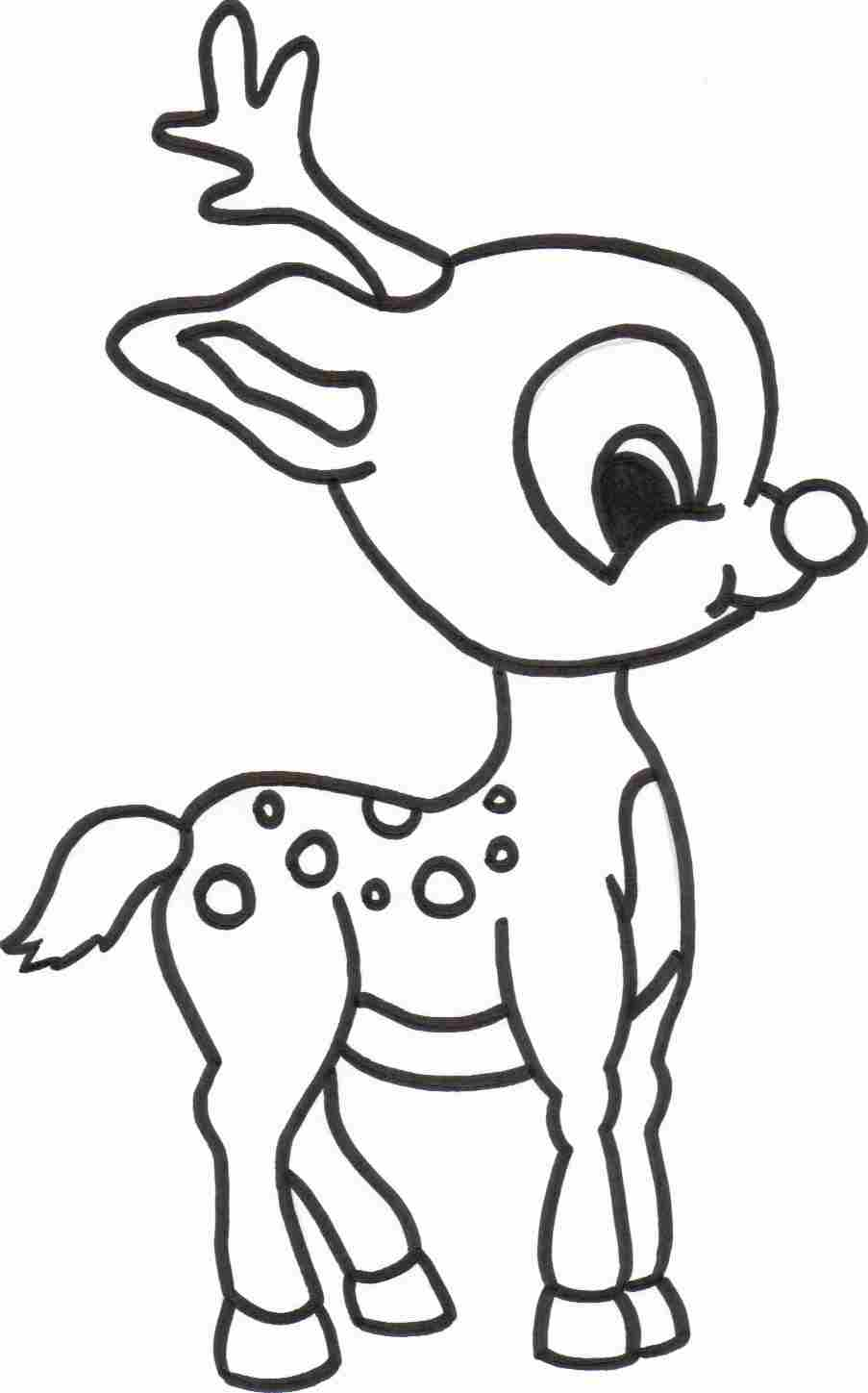 Baby reindeer coloring sheet for Christmas printables coloring pages
