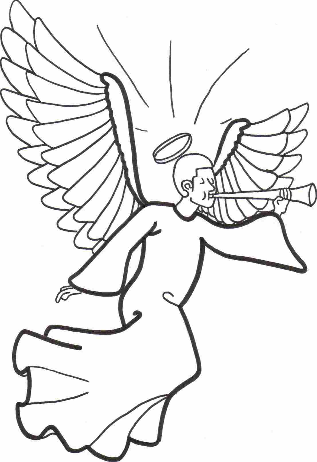 Christmas Angel Coloring Sheet Preview