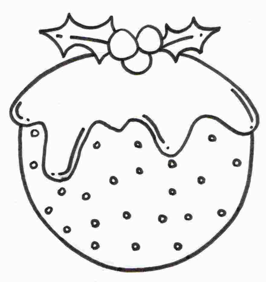 christmas pudding coloring sheet