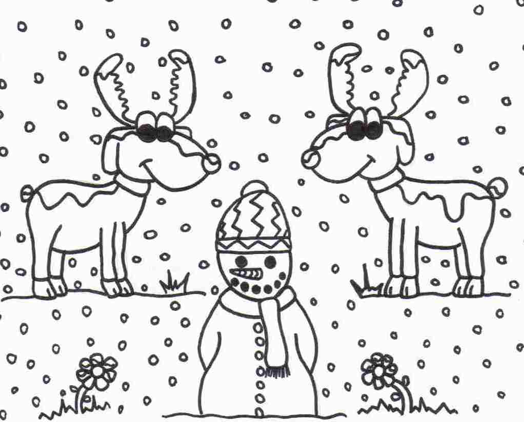 reindeer and snowman coloring sheet